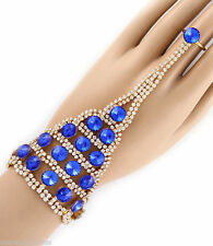 Cobalt Blue Ring & Bracelet Attached Women's Slave Gold Plated Crystals New