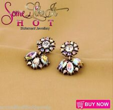 Statement Earrings Stud Diamonte Rhinestone Silver Gold Antique New UK