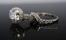 2.75ct Halo Wedding Engagement Ring Set Round Cut VVS/D Solid 14k White Gold