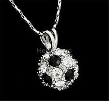 18K White Gold Gp Swarovski Crystal White with Black Ball Cute Necklace BR1394