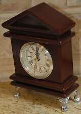 SHELF MANTEL CLOCK WOOD CASE SILVER TONED HARDWARE FOOTED FREEMASON COLONIAL 8x5