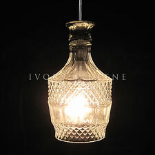 Crystal Wine DECANTER PENDANT LIGHT Vintage Cut Glass and Chrome Fittings Brandy