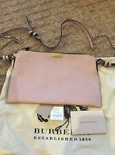 NWT Burberry Check-embossed Leather Clutch Bag Pale Orchid $695