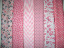 12 FQs Pink White Flowers Chevrons Dots Cotton Quilt Fabric Fat Quarters