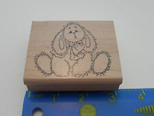 Holly Berry House Rubber Stamp Sad Looking Bunny Rabbit Floppy Ears Bow Fuzzy