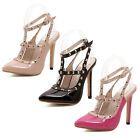 Women Stiletto Sandals Pointy Toe Ankle T Studded Strap High Heels Rivet Shoes