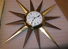 1960s Sunburst Starburst Ingraham Electric Wall Clock Mid Century Danish