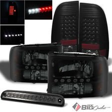 For 99-04 F-Series S.D. Darkside Black Smoked Headlights + LED Tail Lights + 3rd