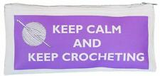 Keep Calm & Keep Crocheting  - Cotton Crochet Hook Case - SUPPLIED EMPTY purple