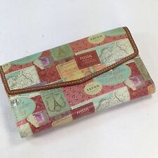 Fossil Printed Leather Wallet Multicolor European Travel London Paris Florence