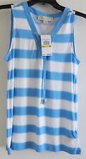 NWT Michael Kors Blue & White Striped Sleeveless Lace Up Front Top  Sz M $79.50