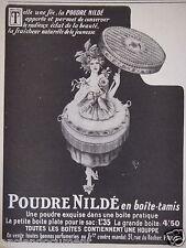 PUBLICITÉ 1919 LA POUDRE NILDÉ EN BOITE-TAMIS - ADVERTISING