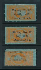 TOBACCO DUTY 1927 REVENUES...VIRGINIA FACTORY 17 OPTS...3 DIFF MONTHS
