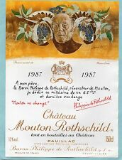 PAUILLAC 1E GCC ETIQUETTE CHATEAU  MOUTON  ROTHSCHILD 1987 150 CL DECOREE§21/11§