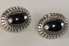 WHITING DAVIS Hermatite Clip on Earrings Beautiful Silver Plate Oval Setting