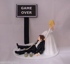Wedding Party Reception Golf Ball & Club Drunk Golfer Beer Game Over Cake Topper