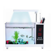 Desktop Mini Fish Tank Water Running Pump Aquarium Alarm Colorful Light USB