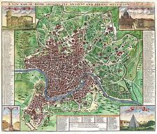 MAP ANTIQUE SENNEX 1721 ROME CITY PLAN OLD LARGE REPLICA POSTER PRINT PAM1205