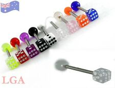Tongue DICE Tongue Bars Tounge Piercing Nipple Barbell Body Bar 14g 16mm CLEAR