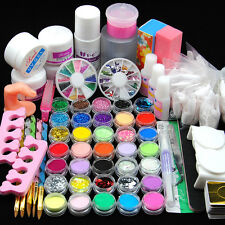 Acrylic Powder Glitter Nail Art Kit UV Gel Glue Manicure DIY Tips Brush Set Kit