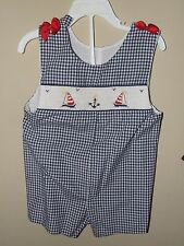 Girl Boutique 2T Smocked Sailboat Bubble Romper Nautical Bows Blue Red Gingham