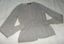 THE LIMITED Gray & Silver METALLIC Shimmer WOOL Blend CARDIGAN Sz M-