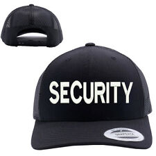 SECURITY TEXT MESH TRUCKER SNAP CLOSURE CAP HAT BLACK