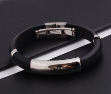 "Unisex Men Women's Stainless Steel Rubber Silicone Bracelet black 8"" G30"
