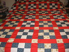 "Vintage Patchwork Block Quilt Top. 86""x74''"