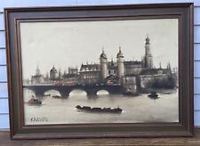 Artist Signed KRASIN Antique Oil Painting Waterloo Bridge London, Monet Era EXC!