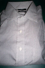NEW! BERKLEY JENSEN NO IRON SPREAD COLLAR DRESS SHIRT-BLACK/WHITE PLAID-16 34/35