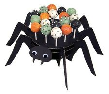 NEW MERI MERI BLACK SPIDER W/ GOGGLE EYES CAKE POP STAND & 24 STICKS HALLOWEEN