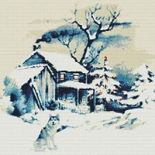 OLD BARN AND HUSKY IN THE SNOW is a 14ct  CROSS STITCH KIT ANCHOR