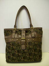 XOXO Brown Monogram Large Handbag Shoulder Bag Purse Carryall Tote