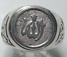 LOOK 0928 Allah Islamic Real Sterling Silver Ring Islam