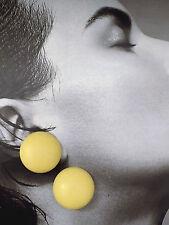 ORECCHINI CLIP TONDI IN PLASTICA GIALLA vintage earrings - J20