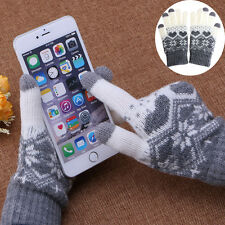 Women Girl Winter Warm Touch Screen Gloves Wool Stretch Snowflake Mittens