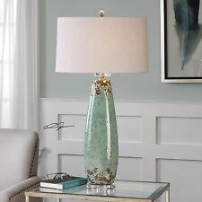 CRACKLED PALE MINT GREEN CERAMIC TABLE LAMP BRUSHED NICKEL & CRYSTAL FOOT LIGHT