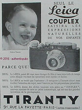 PUBLICITE LEICA COUPLEX APPAREIL PHOTO TIRANTY BEBE ENFANT DE 1932 FRENCH AD PUB
