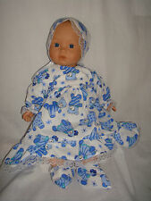 """L Blue Teddy, Bonnet & Booties. Fit  Baby Born/Annabell16/18"""" Doll"""