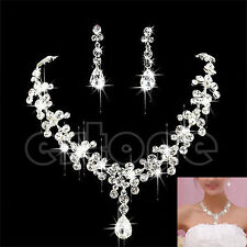 Bling Crystal Rhinestone Necklace Earrings Plated Jewelry Set For Wedding Bridal
