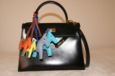 100% Authentic Hermes Kelly 28 Black Boxcalf Leather Gold Hadware