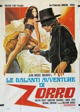 724 RED HOT ZORRO original Italian 1p movie Poster,  '74 art of the masked Hero