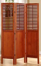 3 Panel Solid Wood Screen Room Divider with Shutters on Top Half, Walnut