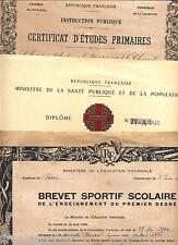 3 diplomes certificat etudes primaires brevet sportif donneur de sang 1895 1964