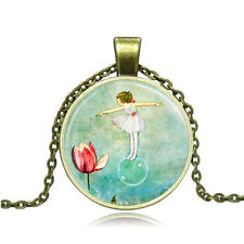 Vintage Rose and dancers Cabochon Bronze Glass Chain Pendant Necklace AG113