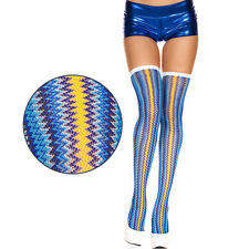 Opaque Blue Yellow Vertical Zig Zag Striped Pattern Thigh Highs Stockings Raver