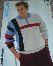 Patons Knitting Pattern Man's DK Easy Knit Multi Coloured Shirt Sweater No C3469