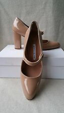 New Manolo Blahnik 38.5 8 Campy 90mm Mary Jane Pump Beige Nude Patent Heels Shoe