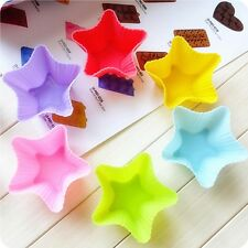 6Pcs Soft Silicone Cake Muffin Chocolate Cupcake Star Baking Cup Mold Mould